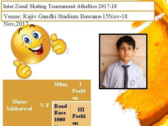 Inter Zonal Skating Tournament Atheltics 2017 -18 Venue: Rajiv Gandhi Stadium Bawana-15 Nov-18 Nov,