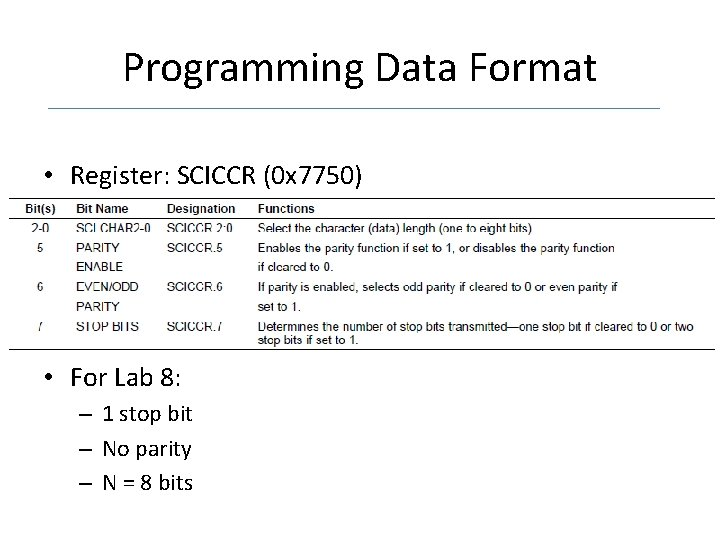 Programming Data Format • Register: SCICCR (0 x 7750) • For Lab 8: –