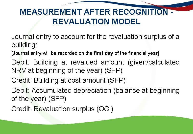 MEASUREMENT AFTER RECOGNITION - REVALUATION MODEL Journal entry to account for the revaluation surplus