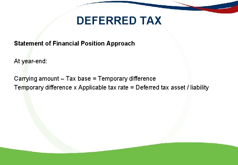 DEFERRED TAX Statement of Financial Position Approach At year-end: Carrying amount – Tax base