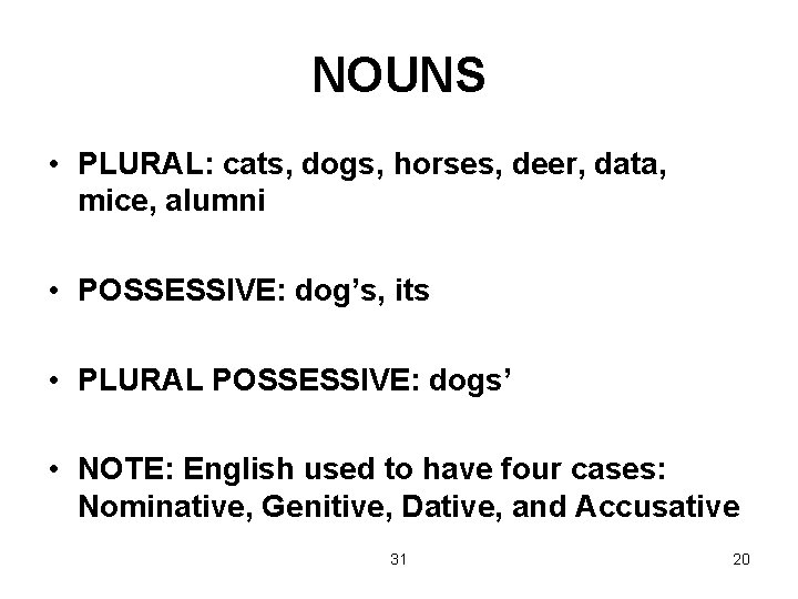 NOUNS • PLURAL: cats, dogs, horses, deer, data, mice, alumni • POSSESSIVE: dog's, its