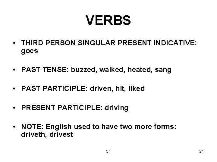 VERBS • THIRD PERSON SINGULAR PRESENT INDICATIVE: goes • PAST TENSE: buzzed, walked, heated,