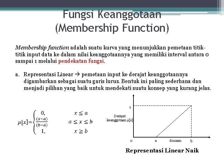 Fungsi Keanggotaan (Membership Function) Membership function adalah suatu kurva yang menunjukkan pemetaan titik input