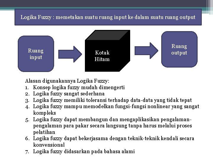 Logika Fuzzy : memetakan suatu ruang input ke dalam suatu ruang output Ruang input