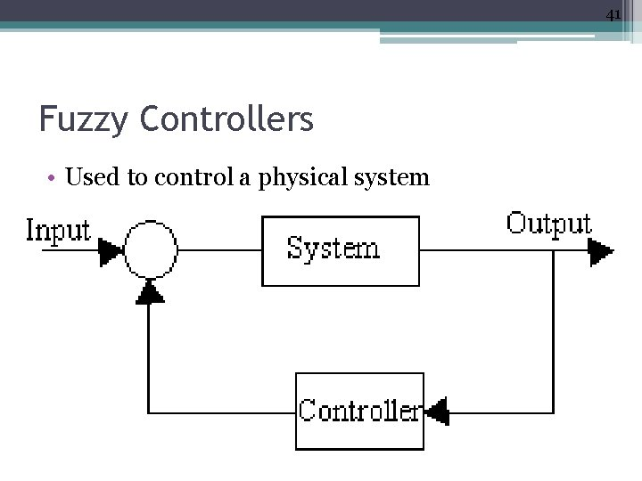 41 Fuzzy Controllers • Used to control a physical system