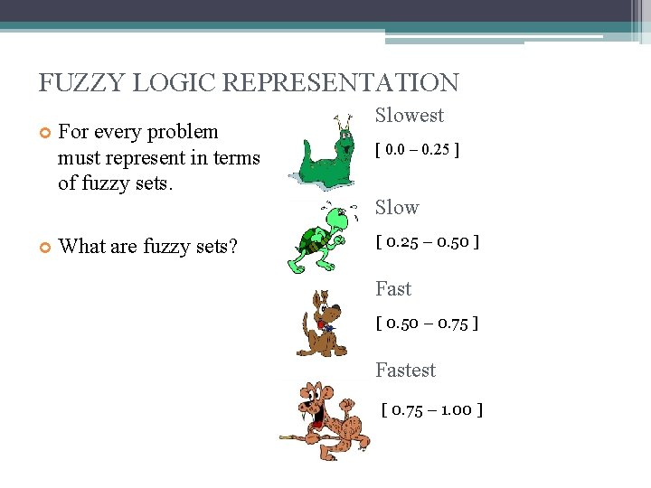 FUZZY LOGIC REPRESENTATION For every problem must represent in terms of fuzzy sets. What