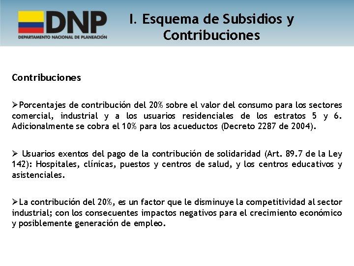 I. Esquema de Subsidios y Contribuciones ØPorcentajes de contribución del 20% sobre el valor