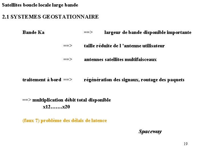 Satellites boucle locale large bande 2. 1 SYSTEMES GEOSTATIONNAIRE Bande Ka ==> largeur de