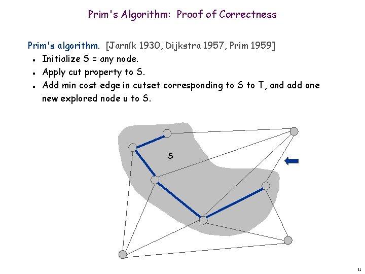 Prim's Algorithm: Proof of Correctness Prim's algorithm. [Jarník 1930, Dijkstra 1957, Prim 1959] Initialize
