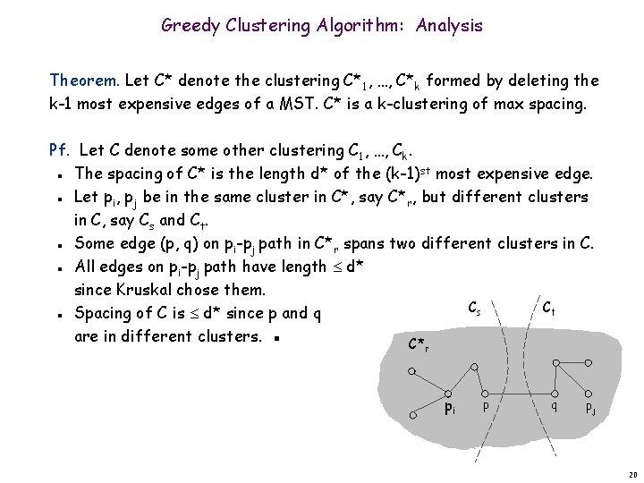 Greedy Clustering Algorithm: Analysis Theorem. Let C* denote the clustering C*1, …, C*k formed