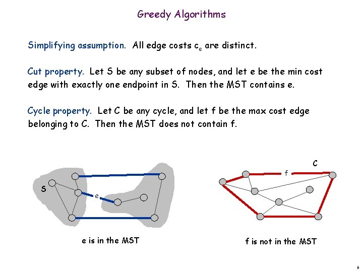 Greedy Algorithms Simplifying assumption. All edge costs ce are distinct. Cut property. Let S