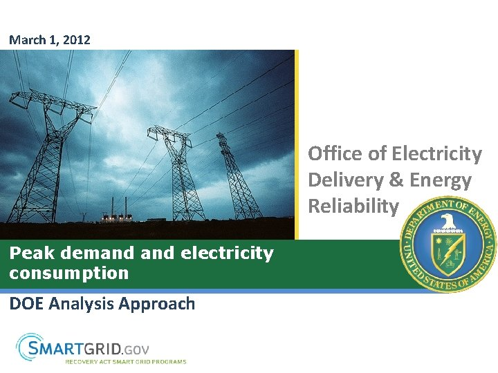 March 1, 2012 Office of Electricity Delivery & Energy Reliability Peak demand electricity consumption
