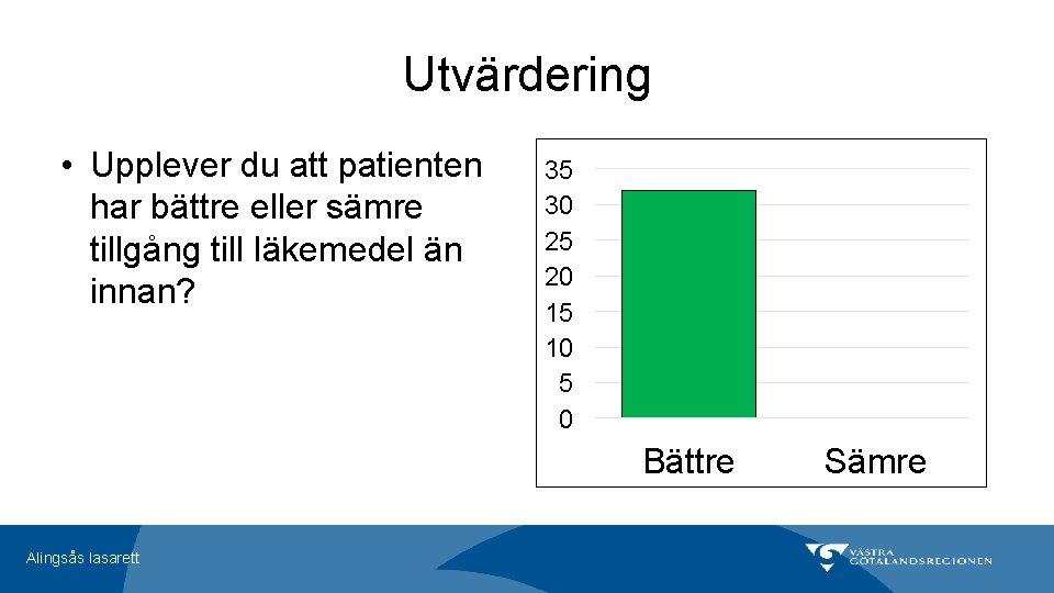 Utvärdering • Upplever du att patienten har bättre eller sämre tillgång till läkemedel än