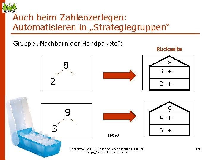 """Auch beim Zahlenzerlegen: Automatisieren in """"Strategiegruppen"""" Gruppe """"Nachbarn der Handpakete"""": 8 8 3 +"""