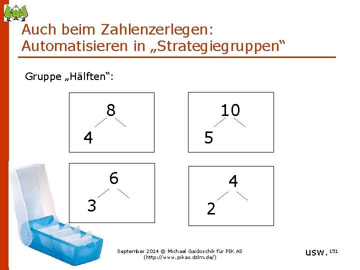 """Auch beim Zahlenzerlegen: Automatisieren in """"Strategiegruppen"""" Gruppe """"Hälften"""": 10 8 5 4 6 3"""