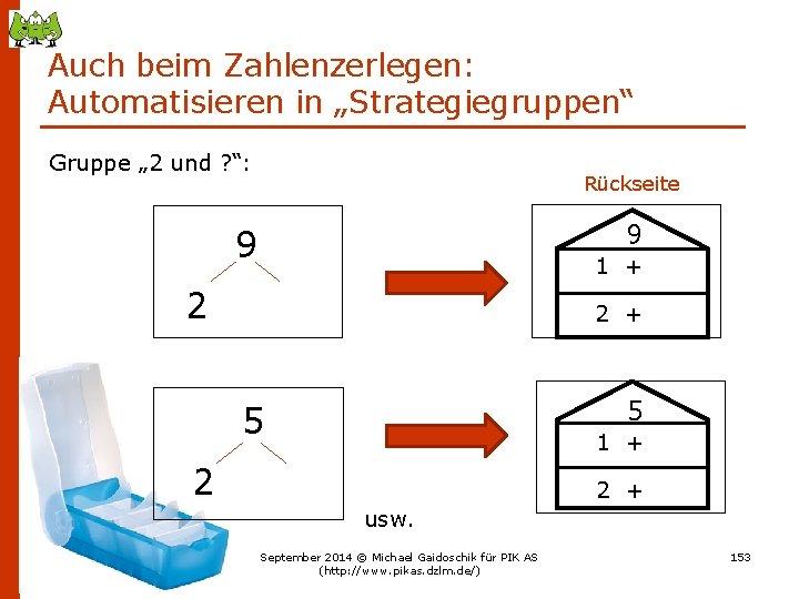 """Auch beim Zahlenzerlegen: Automatisieren in """"Strategiegruppen"""" Gruppe """" 2 und ? """": Rückseite 9"""
