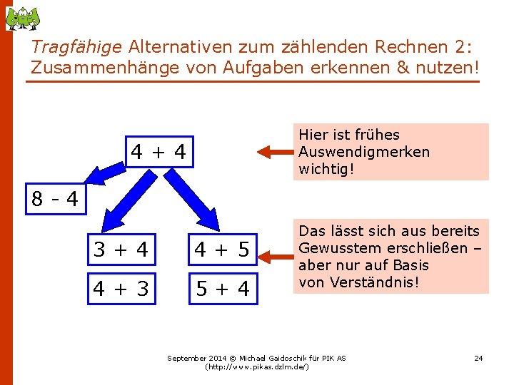 Tragfähige Alternativen zum zählenden Rechnen 2: Zusammenhänge von Aufgaben erkennen & nutzen! Hier ist