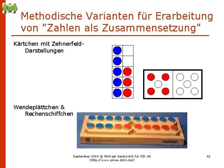 """Methodische Varianten für Erarbeitung von """"Zahlen als Zusammensetzung"""" Kärtchen mit Zehnerfeld. Darstellungen Wendeplättchen &"""