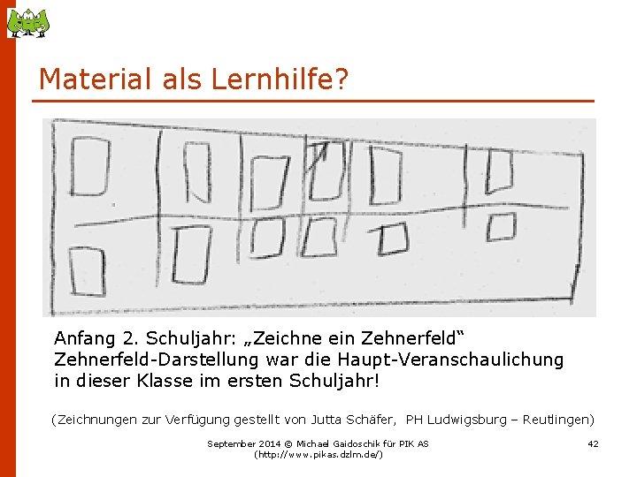 """Material als Lernhilfe? Anfang 2. Schuljahr: """"Zeichne ein Zehnerfeld"""" Zehnerfeld-Darstellung war die Haupt-Veranschaulichung in"""