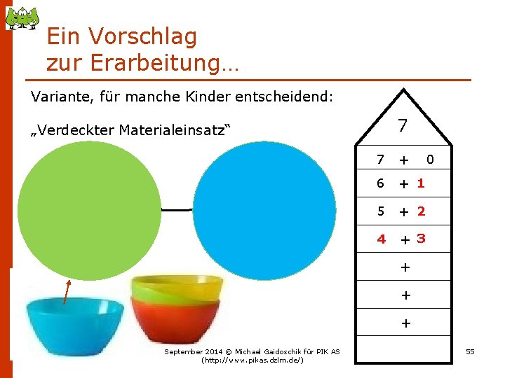 """Ein Vorschlag zur Erarbeitung… Variante, für manche Kinder entscheidend: 7 """"Verdeckter Materialeinsatz"""" 7 +"""