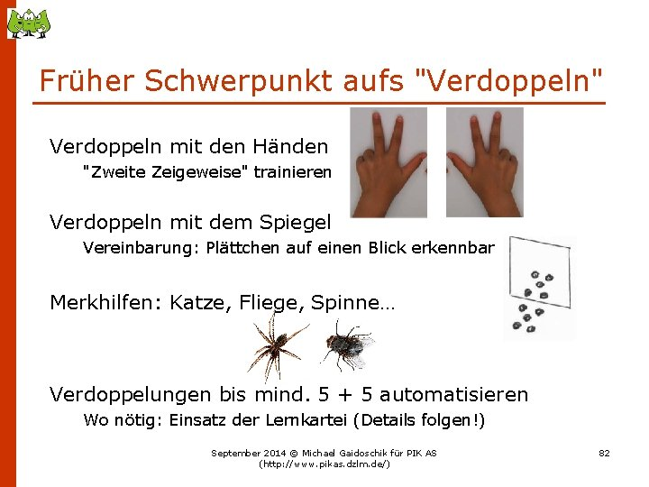 """Früher Schwerpunkt aufs """"Verdoppeln"""" Verdoppeln mit den Händen """"Zweite Zeigeweise"""" trainieren Verdoppeln mit dem"""