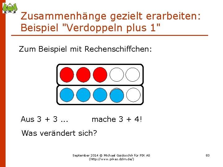 """Zusammenhänge gezielt erarbeiten: Beispiel """"Verdoppeln plus 1"""" Zum Beispiel mit Rechenschiffchen: Aus 3 +"""