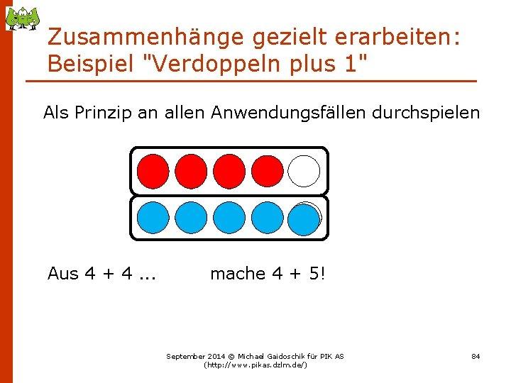 """Zusammenhänge gezielt erarbeiten: Beispiel """"Verdoppeln plus 1"""" Als Prinzip an allen Anwendungsfällen durchspielen Aus"""