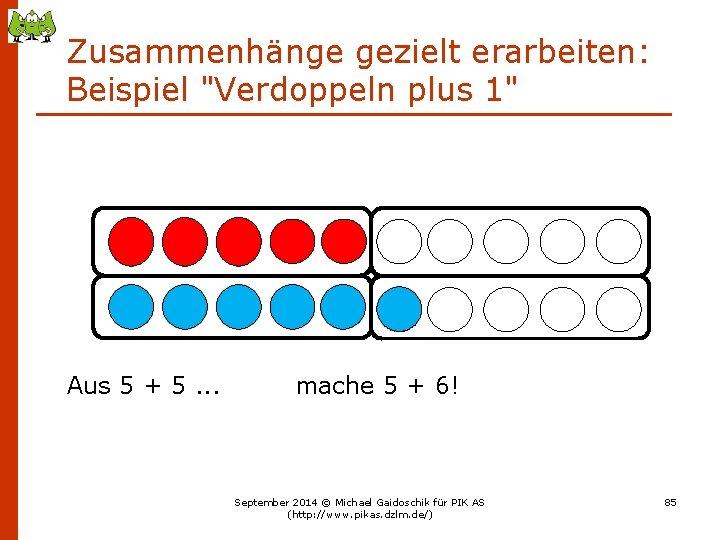 """Zusammenhänge gezielt erarbeiten: Beispiel """"Verdoppeln plus 1"""" Aus 5 + 5. . . mache"""