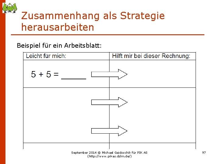 Zusammenhang als Strategie herausarbeiten Beispiel für ein Arbeitsblatt: September 2014 © Michael Gaidoschik für