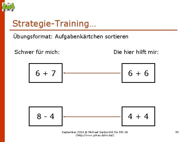 Strategie-Training… Übungsformat: Aufgabenkärtchen sortieren Schwer für mich: Die hier hilft mir: 6+7 6+6 8