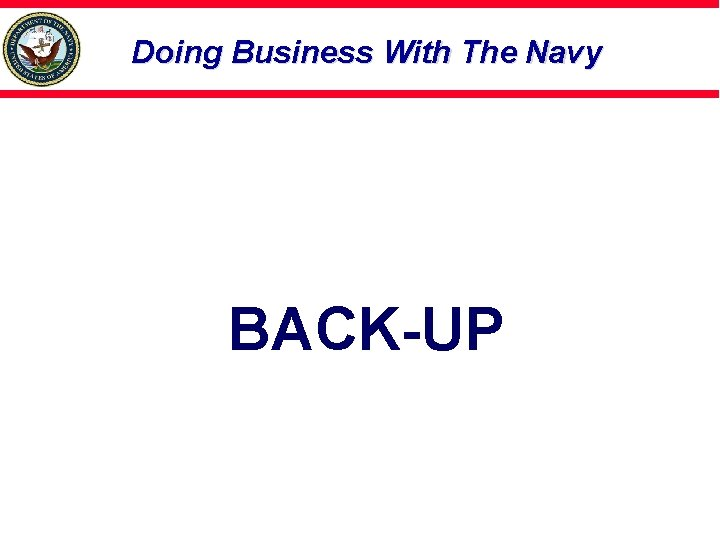 Doing Business With The Navy BACK-UP
