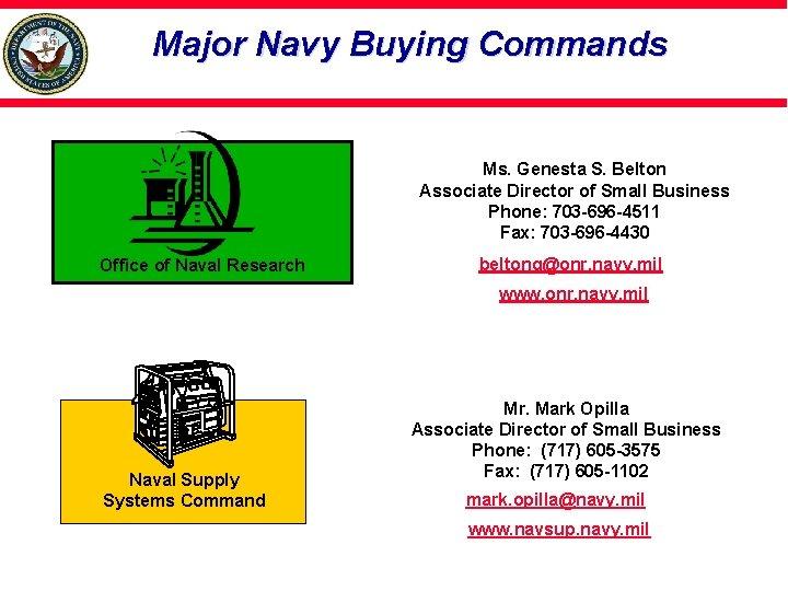 Major Navy Buying Commands Ms. Genesta S. Belton Associate Director of Small Business Phone: