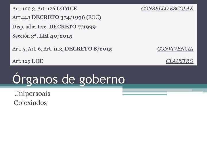Art. 122. 3, Art. 126 LOMCE CONSELLO ESCOLAR Art 44. 1 DECRETO 374/1996 (ROC)