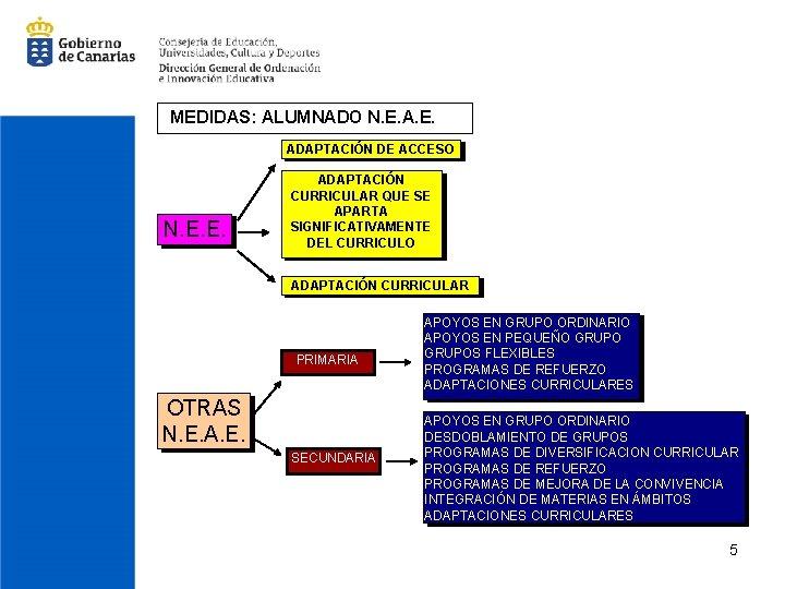 MEDIDAS: ALUMNADO N. E. ADAPTACIÓN DE ACCESO N. E. E. ADAPTACIÓN CURRICULAR QUE SE