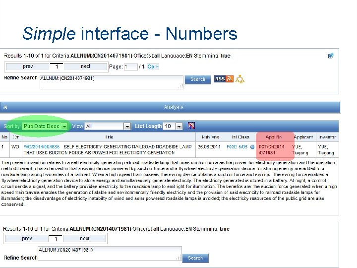 Simple interface - Numbers