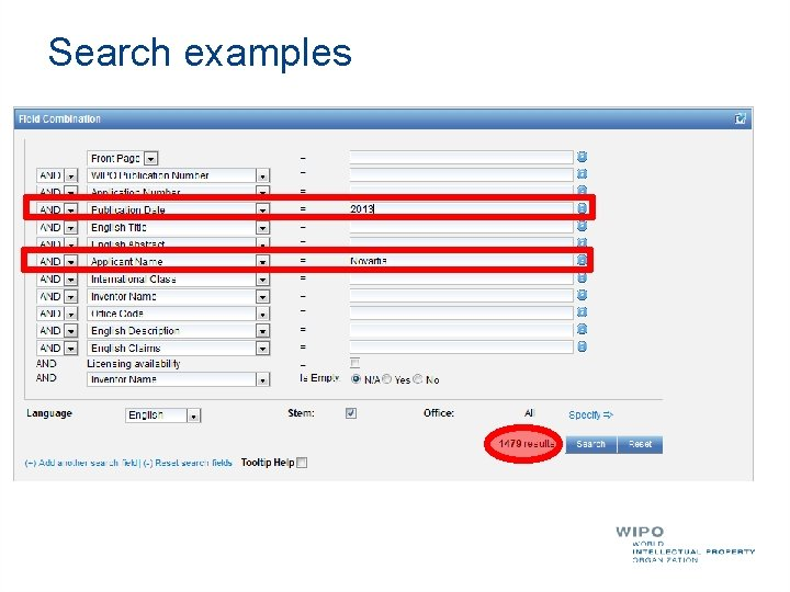 Search examples Patent documents containing Novartis as inventor and published in 2010