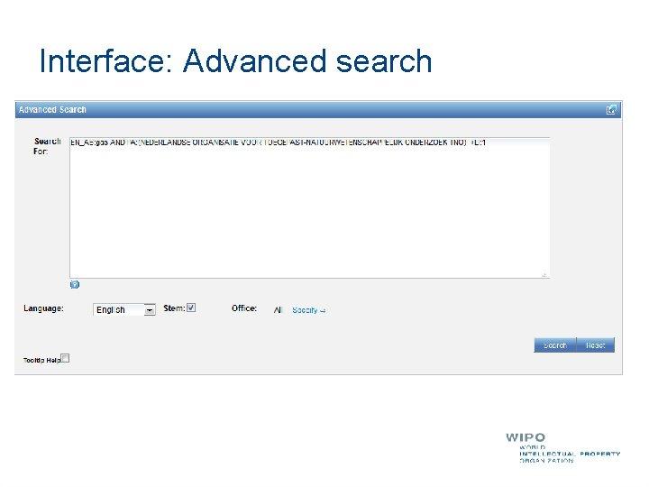 Interface: Advanced search