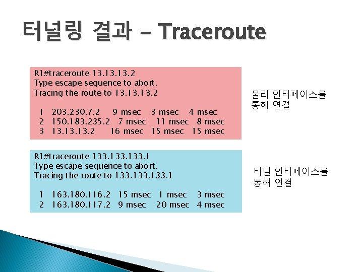 터널링 결과 - Traceroute R 1#traceroute 13. 13. 2 Type escape sequence to abort.