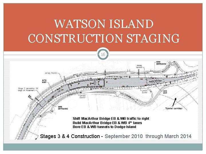 WATSON ISLAND CONSTRUCTION STAGING 16 Tunnel corridor Shift Mac. Arthur Bridge EB & WB
