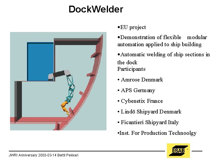 Dock. Welder ·EU project ·Demonstration of flexible modular automation applied to ship building ·Automatic