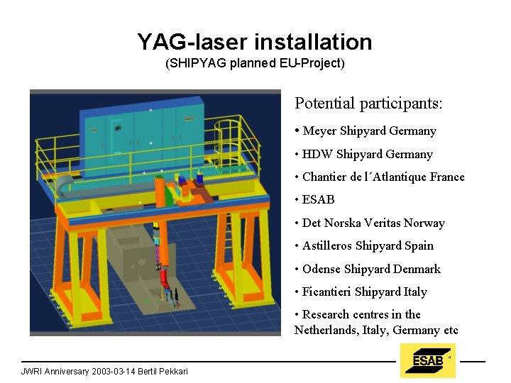 YAG-laser installation (SHIPYAG planned EU-Project) Potential participants: • Meyer Shipyard Germany • HDW Shipyard