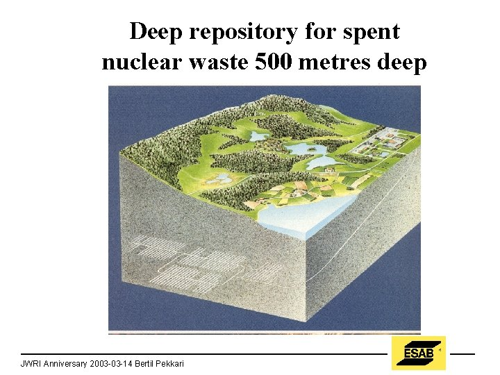 Deep repository for spent nuclear waste 500 metres deep JWRI Anniversary 2003 -03 -14