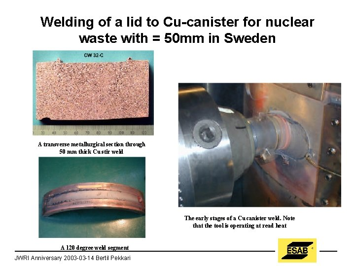 Welding of a lid to Cu-canister for nuclear waste with = 50 mm in
