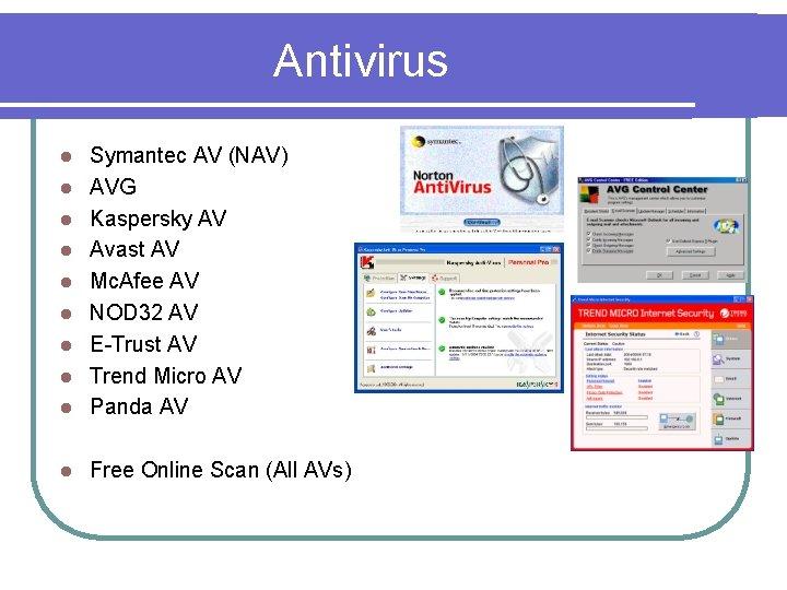 Antivirus l Symantec AV (NAV) AVG Kaspersky AV Avast AV Mc. Afee AV NOD