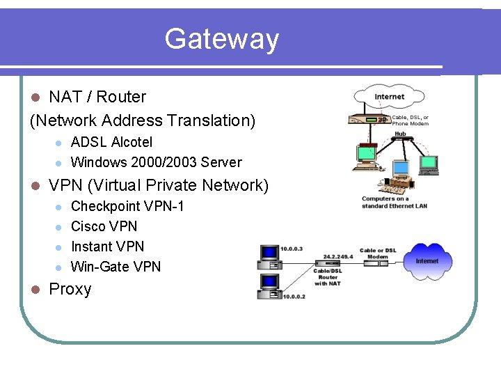 Gateway NAT / Router (Network Address Translation) l l VPN (Virtual Private Network) l