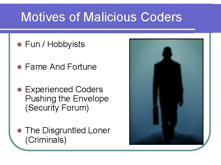 Motives of Malicious Coders l Fun / Hobbyists l Fame And Fortune l Experienced