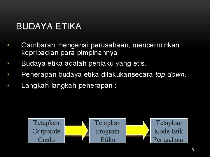 BUDAYA ETIKA • Gambaran mengenai perusahaan, mencerminkan kepribadian para pimpinannya • Budaya etika adalah
