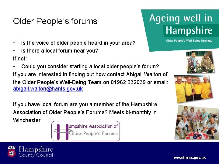 Older People's forums • Is the voice of older people heard in your area?
