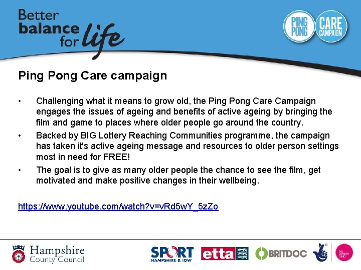 Ping Pong Care campaign • • • Challenging what it means to grow old,
