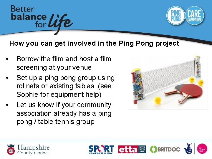How you can get involved in the Ping Pong project • • • Borrow